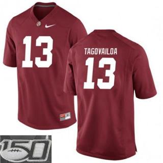 Men's Alabama Crimson Tide #13 Tua Tagovailoa Crimson 150th Patch College Football Jersey