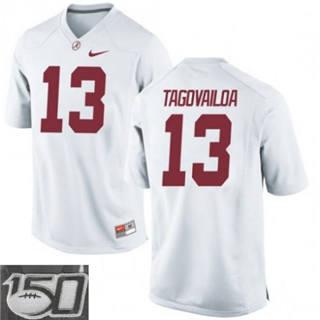 Men's Alabama Crimson Tide #13 Tua Tagovailoa White 150th Patch College Football Jersey