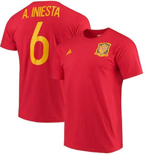 Men's Andres Iniesta Spain National Team  Federation Jersey Hook Player Name & Number T-Shirt - Red