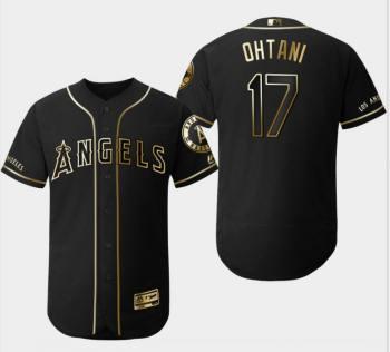 Men's Angels #17 Shohei Ohtani Black Gold Flexbase Baseball Jersey