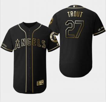 Men's Angels #27 Mike Trout Black Gold Flexbase Baseball Jersey