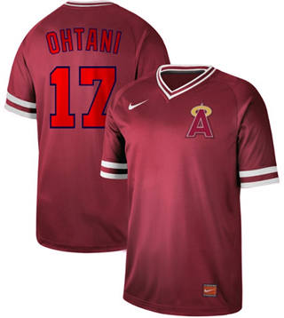 Men's Angels of Anaheim #17 Shohei Ohtani Red  Cooperstown Collection Stitched Baseball Jersey