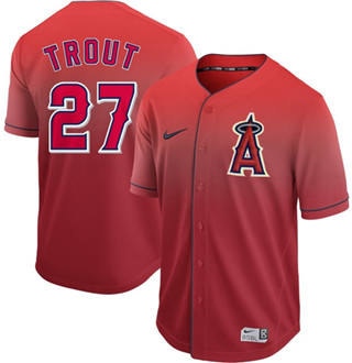 Men's Angels of Anaheim #27 Mike Trout Red Fade  Stitched Baseball Jersey