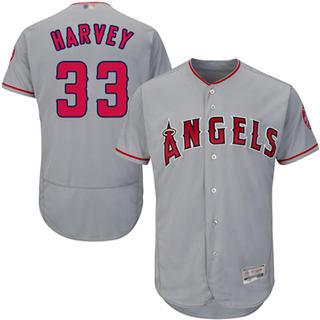 Men's Angels of Anaheim #33 Matt Harvey Grey Flexbase  Collection Stitched Baseball Jersey