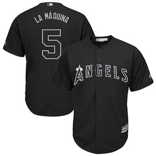 Men's Angels of Anaheim #5 Albert Pujols Black La Maquina Players Weekend Cool Base Stitched Baseball Jersey