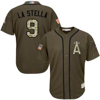 Men's Angels of Anaheim #9 Tommy La Stella Green Salute to Service Stitched Baseball Jersey