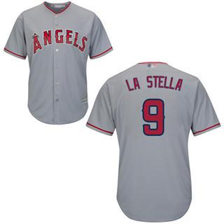 Men's Angels of Anaheim #9 Tommy La Stella Grey New Cool Base Stitched Baseball Jersey