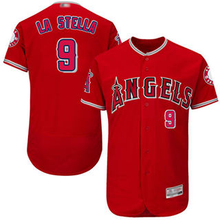 Men's Angels of Anaheim #9 Tommy La Stella Red Flexbase  Collection Stitched Baseball Jersey