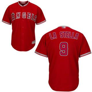 Men's Angels of Anaheim #9 Tommy La Stella Red New Cool Base Stitched Baseball Jersey