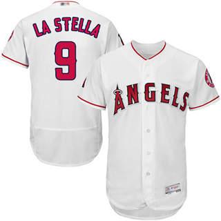 Men's Angels of Anaheim #9 Tommy La Stella White Flexbase  Collection Stitched Baseball Jersey