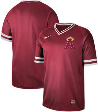 Men's Angels of Anaheim Blank Red  Cooperstown Collection Stitched Baseball Jersey