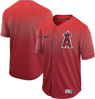 Men's Angels of Anaheim Blank Red Fade  Stitched Baseball Jersey