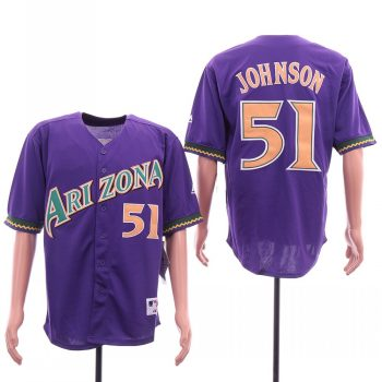 Men's Arizona Diamondbacks #51 Randy Johnson Purple Cool Base Jersey