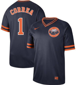 Men's Astros #1 Carlos Correa Navy  Cooperstown Collection Stitched Baseball Jersey