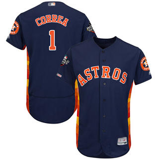 Men's Astros #1 Carlos Correa Navy Blue Flexbase Authentic Collection 2019 World Series Bound Stitched Baseball Jersey