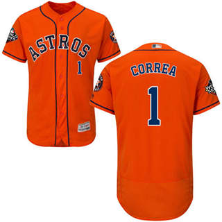 Men's Astros #1 Carlos Correa Orange Flexbase Authentic Collection 2019 World Series Bound Stitched Baseball Jersey