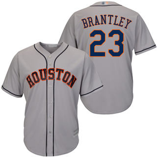 Men's Astros #23 Michael Brantley Grey New Cool Base Stitched Baseball Jersey