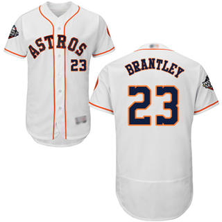 Men's Astros #23 Michael Brantley White Flexbase Authentic Collection 2019 World Series Bound Stitched Baseball Jersey