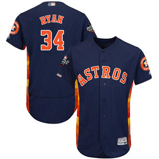 Men's Astros #34 Nolan Ryan Navy Blue Flexbase Authentic Collection 2019 World Series Bound Stitched Baseball Jersey