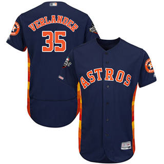 Men's Astros #35 Justin Verlander Navy Blue Flexbase Authentic Collection 2019 World Series Bound Stitched Baseball Jersey