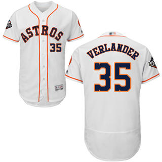 Men's Astros #35 Justin Verlander White Flexbase Authentic Collection 2019 World Series Bound Stitched Baseball Jersey