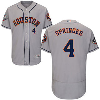 Men's Astros #4 George Springer Grey Flexbase Authentic Collection 2019 World Series Bound Stitched Baseball Jersey