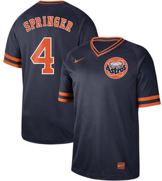Men's Astros #4 George Springer Navy  Cooperstown Collection Stitched Baseball Jersey