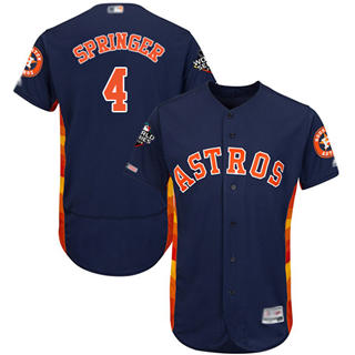 Men's Astros #4 George Springer Navy Blue Flexbase Authentic Collection 2019 World Series Bound Stitched Baseball Jersey