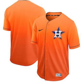 Men's Astros Blank Orange Fade  Stitched Baseball Jersey