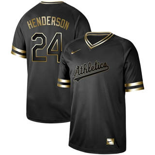 Men's Athletics #24 Rickey Henderson Black Gold  Stitched Baseball Jersey