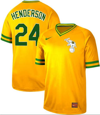 Men's Athletics #24 Rickey Henderson Yellow  Cooperstown Collection Stitched Baseball Jersey