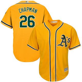 Men's Athletics #26 Matt Chapman Gold New Cool Base Stitched Baseball Jersey