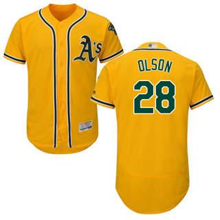 Men's Athletics #28 Matt Olson Gold Flexbase  Collection Stitched Baseball Jersey