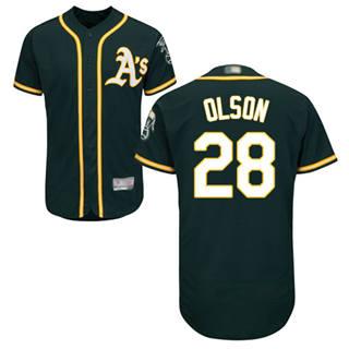 Men's Athletics #28 Matt Olson Green Flexbase  Collection Stitched Baseball Jersey