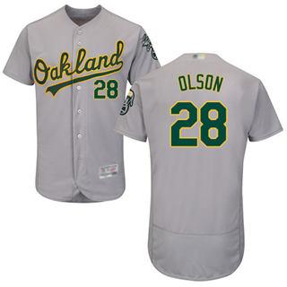 Men's Athletics #28 Matt Olson Grey Flexbase  Collection Stitched Baseball Jersey