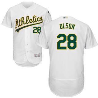 Men's Athletics #28 Matt Olson White Flexbase  Collection Stitched Baseball Jersey