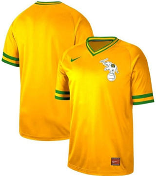 Men's Athletics Blank Yellow  Cooperstown Collection Stitched Baseball Jersey
