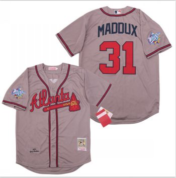 Men's Atlanta Braves #31 Greg Maddux Gray 1999 World Series Cooperstown Collection Jersey