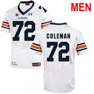 Men's Auburn Tigers #72 Shon Coleman White 2019 College Football Jersey