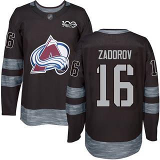 Men's Avalanche #16 Nikita Zadorov Black 1917-2017 100th Anniversary Stitched Hockey Jersey