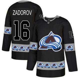 Men's Avalanche #16 Nikita Zadorov Black  Team Logo Fashion Stitched Hockey Jersey