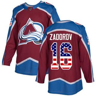 Men's Avalanche #16 Nikita Zadorov Burgundy Home  USA Flag Stitched Hockey Jersey