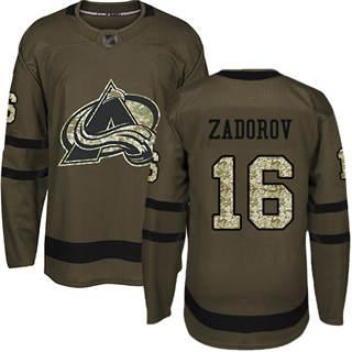 Men's Avalanche #16 Nikita Zadorov Green Salute to Service Stitched Hockey Jersey