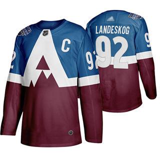 Men's Avalanche #92 Gabriel Landeskog Blue Burgundy Authentic 2019 Stadium Series Stitched Hockey Jersey