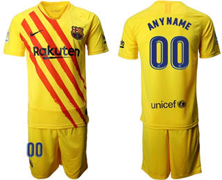 Men's Barcelona Personalized Yellow Soccer Club Jersey
