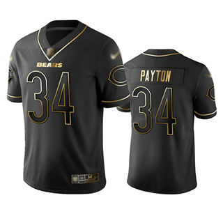 Men's Bears #34 Walter Payton Black Stitched Football Limited Golden Edition Jersey