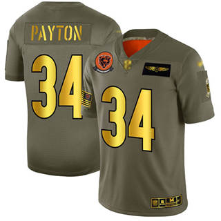 Men's Bears #34 Walter Payton Camo Gold Stitched Football Limited 2019 Salute To Service Jersey