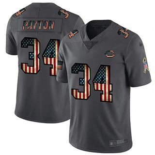 Men's Bears #34 Walter Payton Carbon Black Stitched Football Limited Retro Flag Jersey