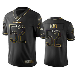 Men's Bears #52 Khalil Mack Black Stitched Football Limited Golden Edition Jersey