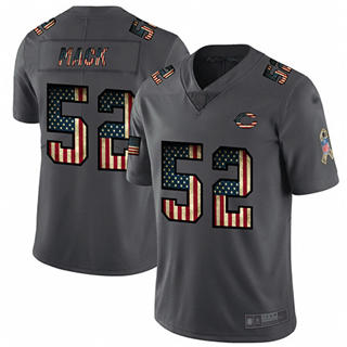 Men's Bears #52 Khalil Mack Carbon Black Stitched Football Limited Retro Flag Jersey
